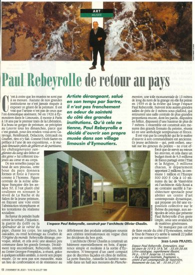 Inauguration de l'Espace Paul Rebeyrolle